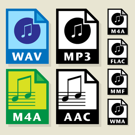 wav: File format or file extension icons set, vector illustration