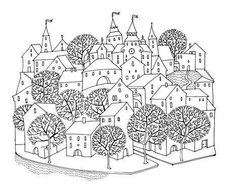 Cartoon hand drawing houses Vector