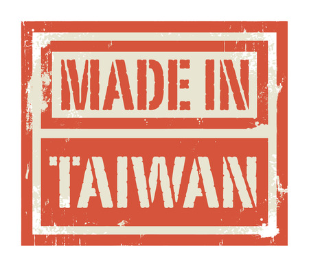 manufactured: Abstract stamp or label with text Made in Taiwan, vector illustration