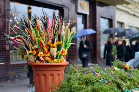 palm sunday: VILNIUS, LITHUANIA - MARCH 29: Traditional lithuanian palm bouquets on Palm Sunday fair on March 29, 2015 in Vilnius, Lithuania. Editorial