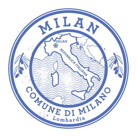 Grunge rubber stamp with words Milan Illustration