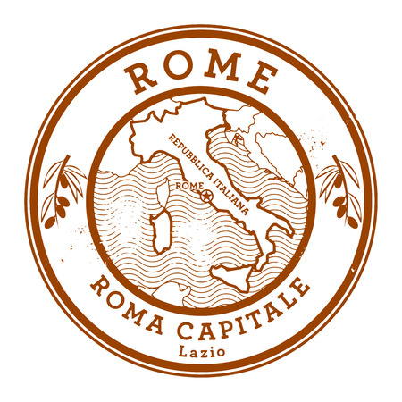 lazio: Grunge rubber stamp with words Rome, Italy inside, vector illustration