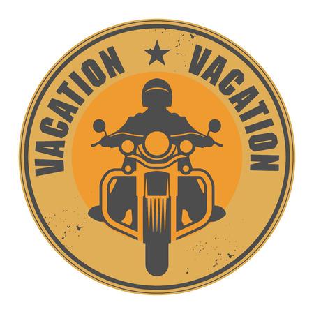 내부에 쓰여진 오토바이와 단어 휴가와 우표 일러스트