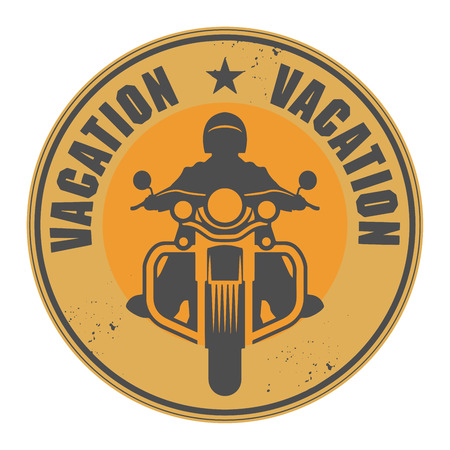 Stamp with Motorcycle and word Vacation written inside