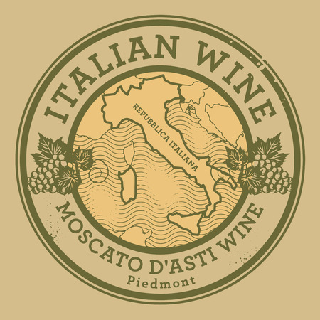 identifier: Grunge rubber stamp with the map of Italy and text Italian Wine, vector illustration Illustration