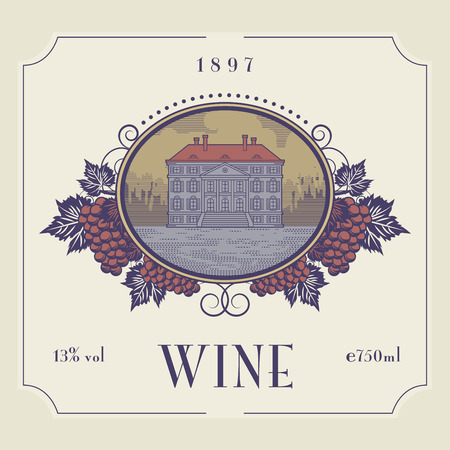 retro label: Vintage wine label, vector illustration