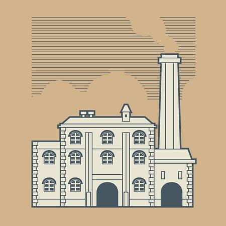 Vintage factory design, vector illustration
