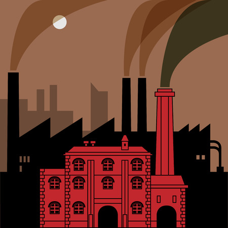 Industrial landscape, vector illustration