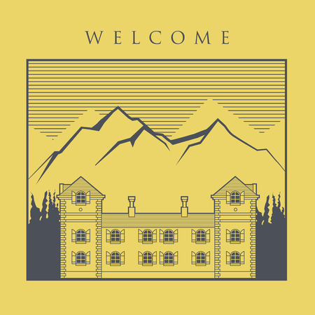 ski resort: Vintage house label, vector illustration Illustration