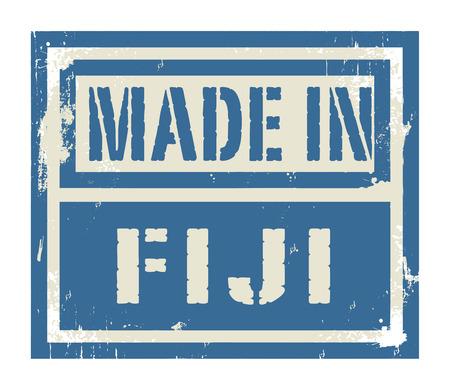 fiji: Abstract stempel of label met tekst Made in Fiji, vector illustratie Stock Illustratie