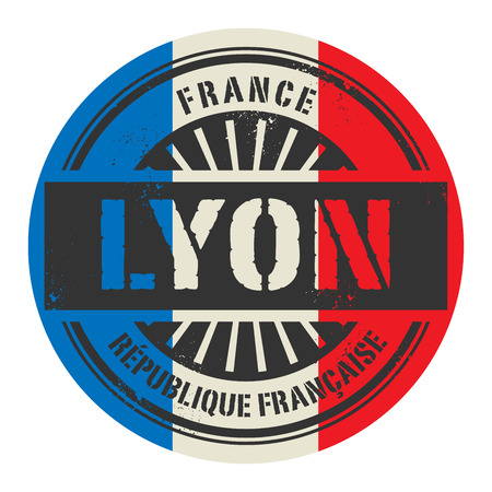 france stamp: Grunge rubber stamp with the text France, Lyon, vector illustration