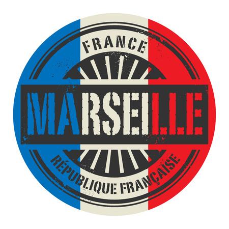france stamp: Grunge rubber stamp with the text France, Marseille, vector illustration Illustration