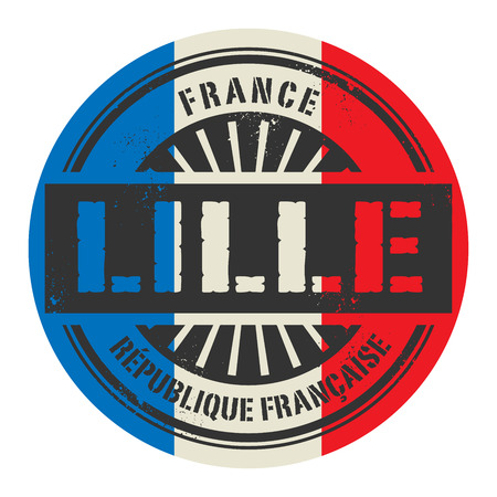 lille: Grunge rubber stamp with the text France, Lille, vector illustration