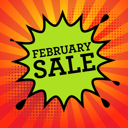 advertised: Comic explosion with text February Sale, vector illustration