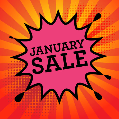 advertised: Comic explosion with text January Sale, vector illustration