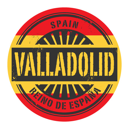 identifier: Grunge rubber stamp with the text Spain, Valladolid, vector illustration Illustration