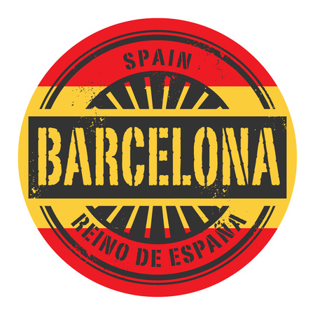 barcelona spain: Grunge rubber stamp with the text Spain, Barcelona, vector illustration