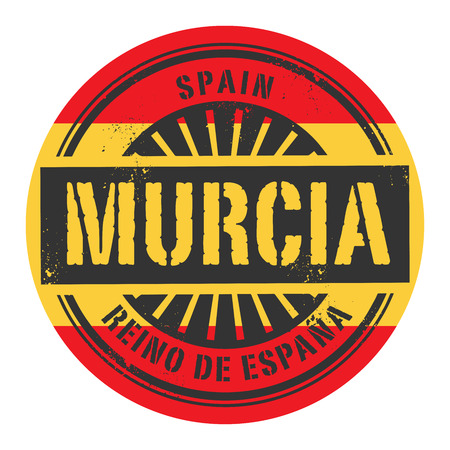 identifier: Grunge rubber stamp with the text Spain, Murcia, vector illustration