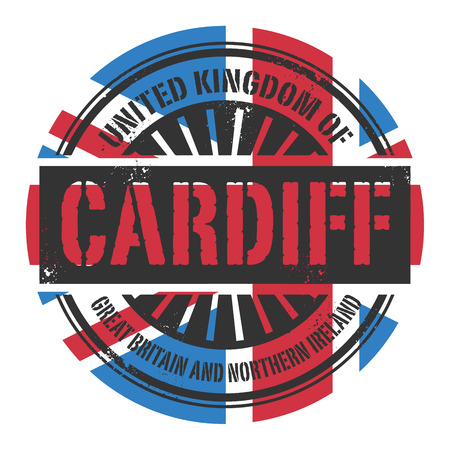 identifier: Grunge rubber stamp with the text United Kingdom, Cardiff, vector illustration