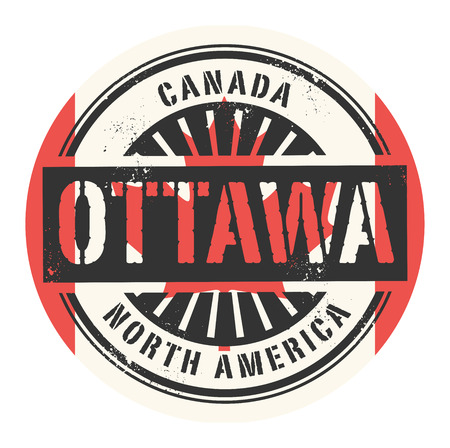 identifier: Grunge rubber stamp with the text Canada, Ottawa, vector illustration