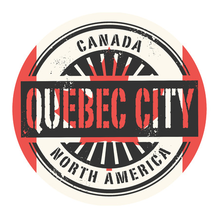 canada stamp: Grunge rubber stamp with the text Canada, Quebec City, vector illustration