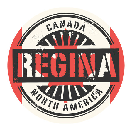 canada stamp: Grunge rubber stamp with the text Canada, Regina, vector illustration Illustration