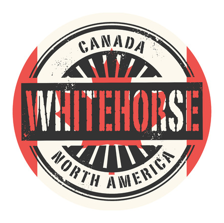 canada stamp: Grunge rubber stamp with the text Canada, Whitehorse, vector illustration Illustration