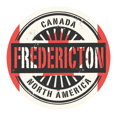 canada stamp: Grunge rubber stamp with the text Canada, Fredericton, vector illustration