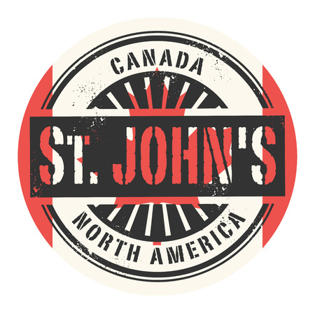 identifier: Grunge rubber stamp with the text Canada, St. Johns, vector illustration Illustration