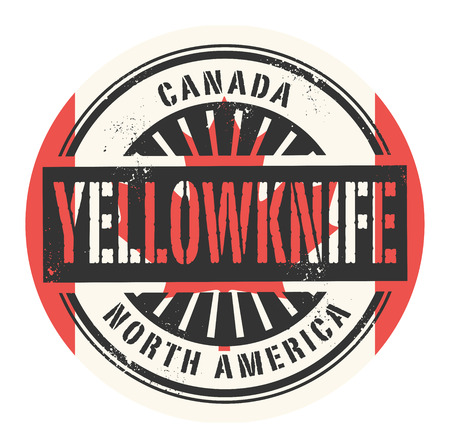 canada stamp: Grunge rubber stamp with the text Canada, Yellowknife, vector illustration Illustration