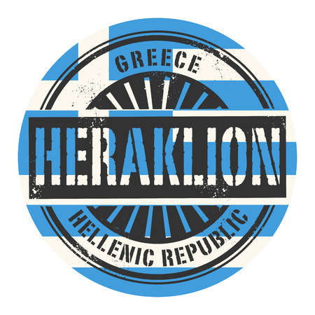 Grunge rubber stamp with the text Greece, Heraklion, vector illustration Vector