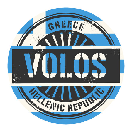 Grunge rubber stamp with the text Greece, Volos, vector illustration Vector