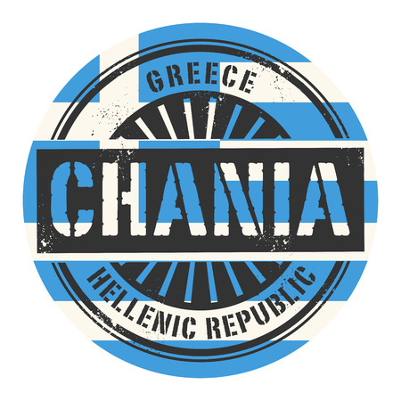 Grunge rubber stamp with the text Greece, Chania, vector illustration Illustration