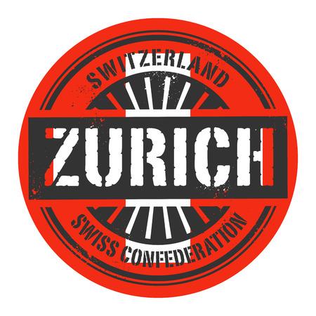swiss alps: Grunge rubber stamp with the text Switzerland, Zurich, vector illustration