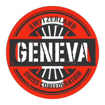 identifier: Grunge rubber stamp with the text Switzerland, Geneva, vector illustration