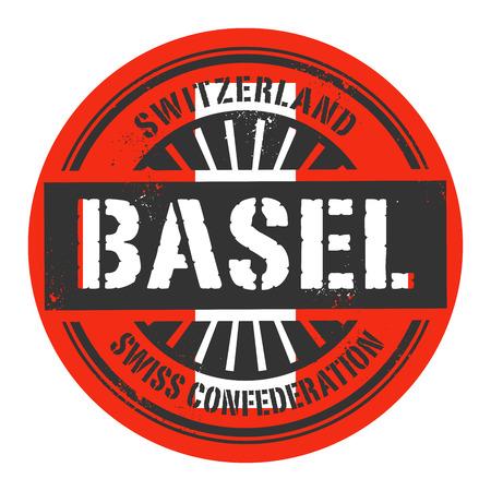 alpes suizos: Grunge sello de goma con el texto Suiza, Basilea, ilustraci�n vectorial