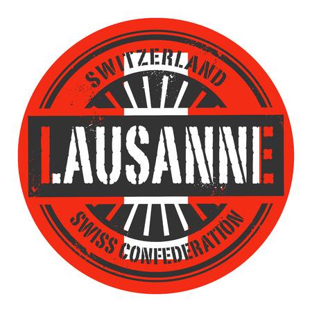 identifier: Grunge rubber stamp with the text Switzerland, Lausanne, vector illustration Illustration