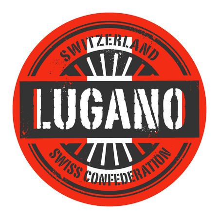 european alps: Grunge rubber stamp with the text Switzerland, Lugano, vector illustration