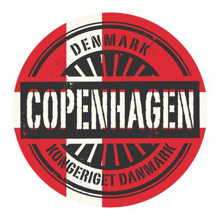 identifier: Grunge rubber stamp with the text Denmark, Copenhagen, vector illustration