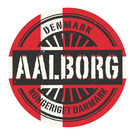 imprinted: Grunge rubber stamp with the text Denmark, Aalborg, vector illustration Illustration