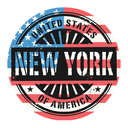 imprinted: Grunge rubber stamp with the text United States of America, New York, vector illustration