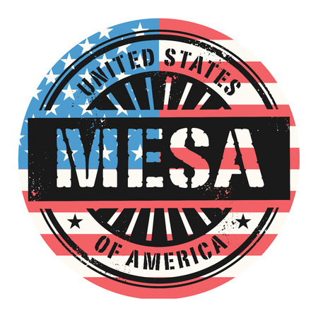 identifier: Grunge rubber stamp with the text United States of America, Mesa, vector illustration