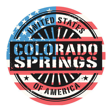 colorado springs: Grunge rubber stamp with the text United States of America, Colorado Springs, vector illustration