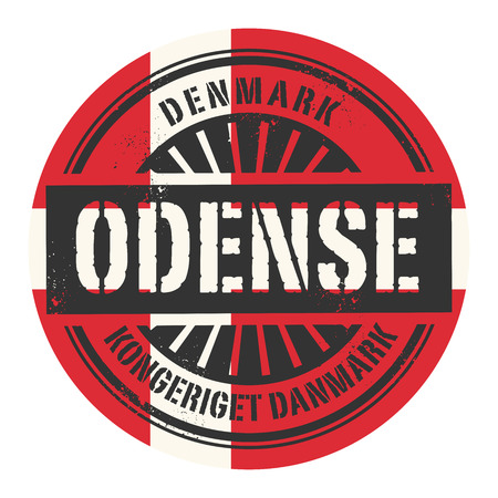 danish: Grunge rubber stamp with the text Denmark, Odense, vector illustration