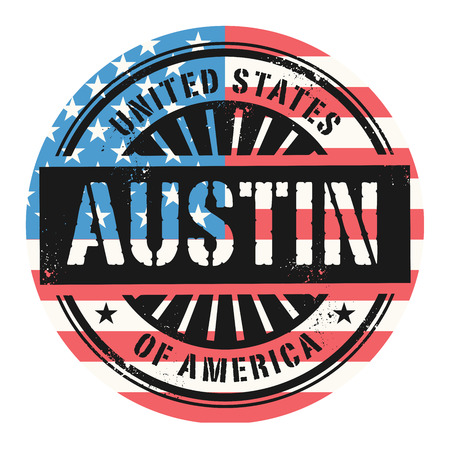 austin: Grunge rubber stamp with the text United States of America, Austin, vector illustration