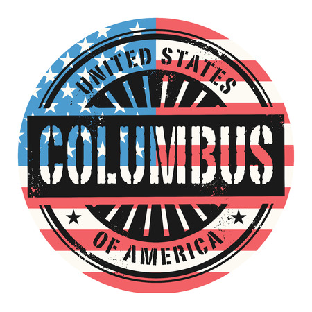 identifier: Grunge rubber stamp with the text United States of America, Columbus, vector illustration Illustration