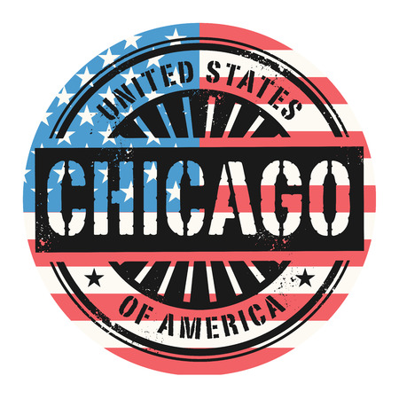 identifier: Grunge rubber stamp with the text United States of America, Chicago, vector illustration Illustration