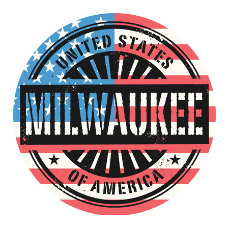 imprinted: Grunge rubber stamp with the text United States of America, Milwaukee, vector illustration
