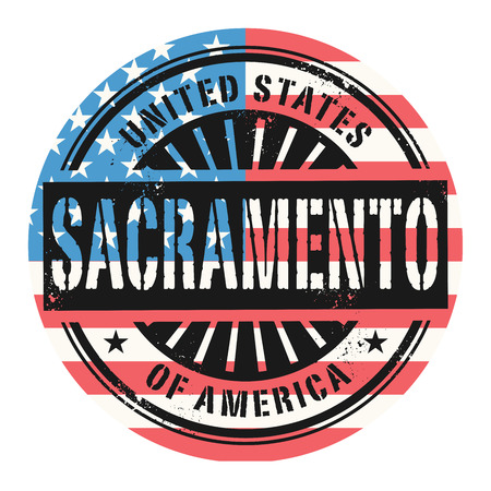 sacramento: Grunge rubber stamp with the text United States of America, Sacramento, vector illustration