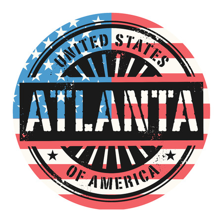 atlanta tourism: Grunge rubber stamp with the text United States of America, Atlanta, vector illustration Illustration